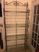 Antique/vintage Pewter With Glass Shelves Bakers Rackdisplay Shelving Decor