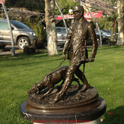 Art Deco Sculpture Officer Soldier Walk With Dog Hunting Bronze Statue