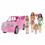 Barbie Limo Limousine Vehicle With 4 Dolls And Accessories Girls Kids Playset