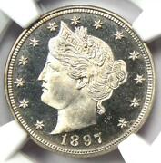 1897 Proof Liberty Nickel 5c Coin - Ngc Pr67 Cameo Pf67 - 2500 Value