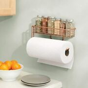 Wall Mount Metal Paper Towel Holder With Storage Shelf For Kitchen, Pantry,