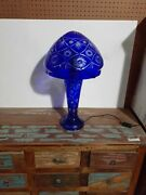 Bohemian Style Cut To Clear Glass Table Lamp With Lighted Base - Cobalt Blue