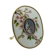 Antique Russian Silver Gilt Guilloche Enamel Photo Frame With Natural Pearls