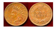 1874 1c Pretty Gold Color And Surface-indian Head Cent++