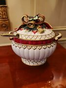Fitz And Floyd Christmas Deer Soup Tureen Bowl Retired Fitz And Floyd W/ladle