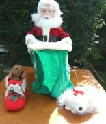 Vintage Santa's Best Christmas Animated Santa Claus With Puppy Free Shipping