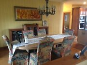 Dining Table Beautiful Burl Maple Veneer And 10 Parson Chairs.