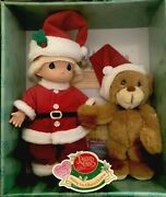 Precious Moments Doll And Bear Wishing You A Bearie Christmas Item 60080 2000 New