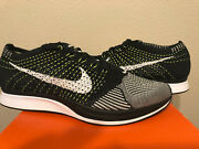 New Ds 10.5 Nike Flyknit Racer Running Orca Volt Black White Tongue 526628-011