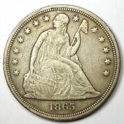 1865 Seated Liberty Silver Dollar 1 - Xf Detail Ef - Civil War Date Coin