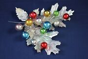 Vintage Christmas Garland Wall Table Door Decoration Silver Foil Leaf Glass Ball