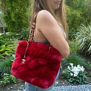 Rare Red Dyed Rabbit Fur Logo Cc Charm And Leather Chain Handle Small Tote