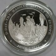 Franklin Mint History Of U.s. Sterling Silver Medal 1944 Normandy Invasion