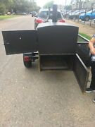 Smoker Trailer Pull Behind5andrsquox8andrsquow/charcoal Grill And 4 Compartment Table Top Sink