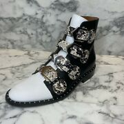 Givenchy Black And White Leather Python Strappy Flat Ankle Booties - Us 6.5 1550