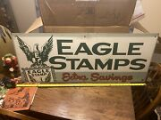 Antique 1940s Large Eagle Stamps Sign Very Nice Masonite Htf Offers Welcome