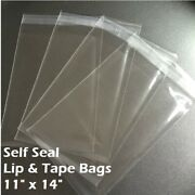 11 X 14 Clear Recloseable Self Seal Adhesive Lip And Tape Plastic Cello Bags