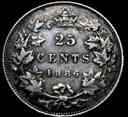 1886 Canada 25 Cents Key Date Bold Details, Hole Fixed. 52-436