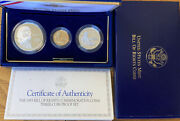 The 1993 Bill Of Rightscommemorative 3 Coin Silver And Gold Proof Set. Usmint