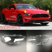 2018-2020 For Ford Mustang Car Headlight Headlamp Lens Cover Left Right 2pcs