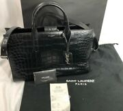 Yves Saint Laurent Ysl Hand Bag Purse Black Tote Leather Crocodile With Dustbag