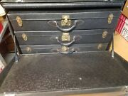 Antique Car Trunk With Three 3 Suitcases - Laskey