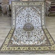 Yilong 6and039x9and039 Handmade Silk Area Rug Kid Friendly Home White Carpet 1010c