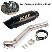 For Cf-moto 400nk 650nk Motor System Exhaust Tips Muffler Black Middle Link Pipe