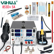 Yh 853d+ Smd Soldering Station Hot Air Gun Soldering Iron 3in1 Dc Power Supply