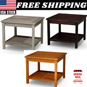 2 Shelf Wood Side Table Eucalyptus Outdoor Furniture Weather Resistant Quality