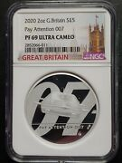 2020 G. Britain Ngc Pf69uc 5andpound 2 Oz Silver Coin James Bond 007 Pay Attention 007