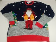 Jolly Sweaters Hunting Santa Ugly Christmas Sweater Puffer Vest Red Blue Crew L