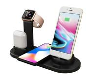 4 In 1 Wireless Charger Qi Station Dock Stand Apple Watch Air Pods Iphone