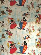 Vtg Disney Productions 2 Pieces Set Fabric Mickey Mouse Disneyland Cotton Crafts