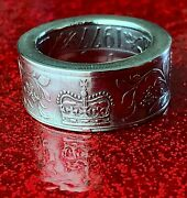 British Coin Ring Crafted From A 1977 Silver Jubilee Commemorative Crown Coin