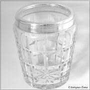 Rare French Sterling Silver And Cut Crystal Ice Bucket, Art Deco Period