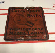Original Westinghouse Mazda Lamps For Automobiles Sign Used Great Look Rare 7andrdquo