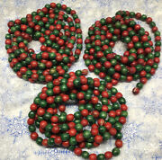 Vintage 1/2 Red Green Wood Bead Strings Garland 27' Christmas Tree Decoration