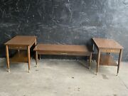 1960s Walnut End/side And Coffee Table Set Mid Century Modern By Mersman
