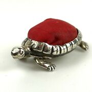 Rare Antique Solid Silver Saunders And Shepherd Tortoise / Turtle Pin Cushion 1908