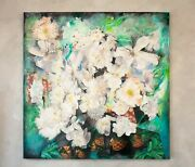 White Flowers Mixed Media Art 48x48 On Canvas Ready To Hang
