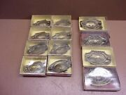 12 Nos Antique English Steel Dresser Drawer Pulls 4 Lge 8 Small In Orig. Boxes
