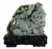 Hand Carved Jade Of '' A Fish With Flowers On A Wood Stand.''