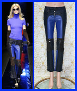 F/w 2010 L 13 Versace Blue And Navy Blue Motorcycle Leather Pants Size 38 - 2