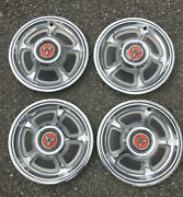 Dodge Hub Caps -mid 60and039s For 14 Wheelsstainless Steel With Black And Red