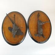 Fine Pair Antique Late 19th Century Bronzes Dead Game Plaques Hare And Pheasant