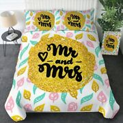 Gold Leaves Love Mr Mrs Heart King Queen Twin Quilt Duvet Pillow Cover Bed Set