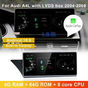 Android 10.0 Car Gps Video Wireless Carplay For Audi A4 A4l 2004-2008 + Lvds Box