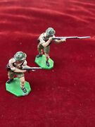 Vintage Lead Toy Soldiers Hand Painted 2 Metal Soldiers With Guns