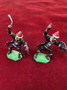 Vintage Lead Toy Soldiers Hand Painted 2 Metal Soldiers With Sword And Shields